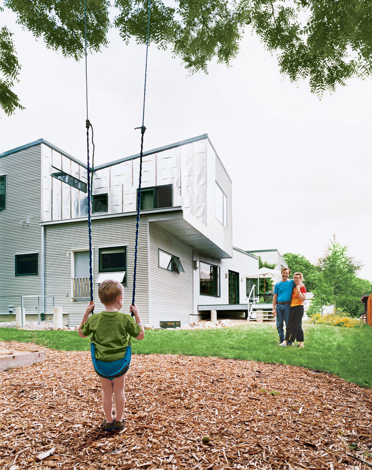 Eco-friendly Ann Arbor home with outdoor swing.