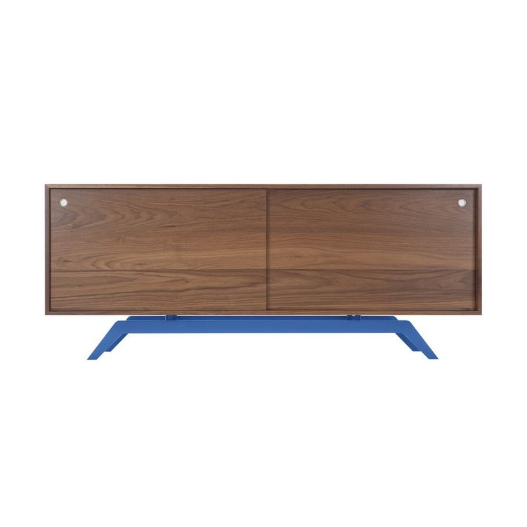 Streamlimed credenza with powder-coated base