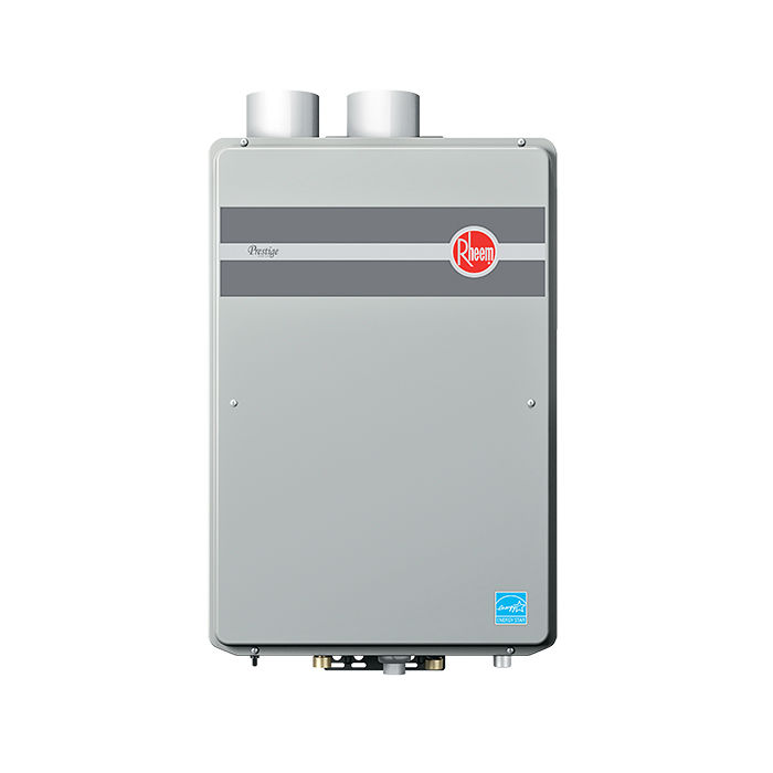 Modern energy efficient kitchen appliances like the Rheem Prestige condensing tankless water heater