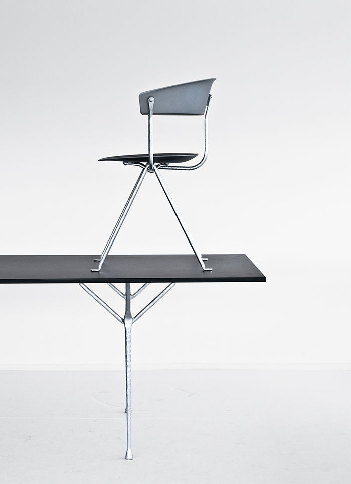 Table and chair in the Officina Collection by Erwan and Ronan Bouroullec for Magis