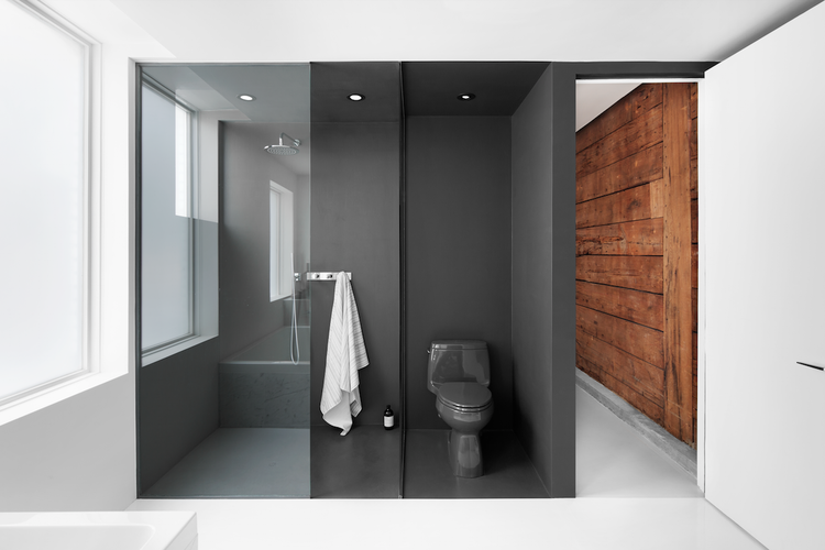 Dark gray bathroom