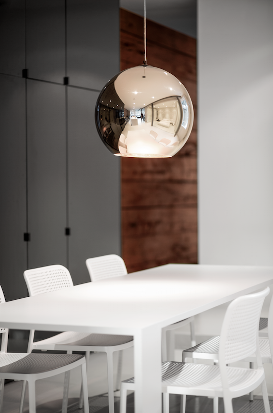 Dining room with Tom Dixon pendant light