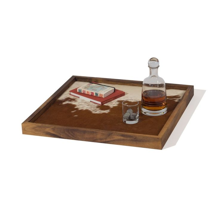 Rectangular tray with cowhide top and walnut frame