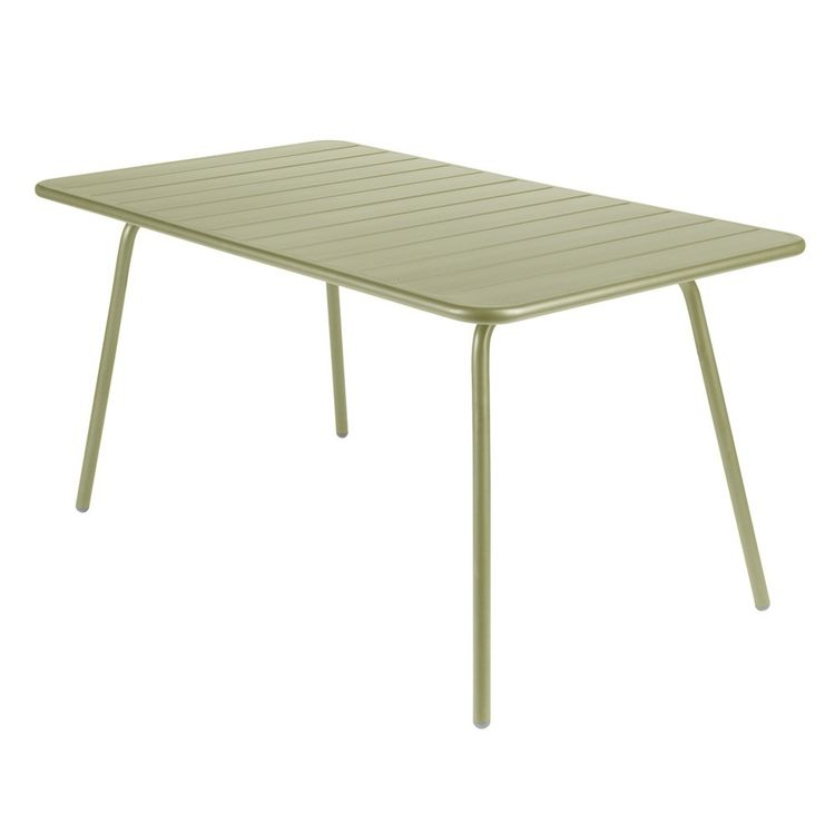 Powder-coated green outdoor dining table