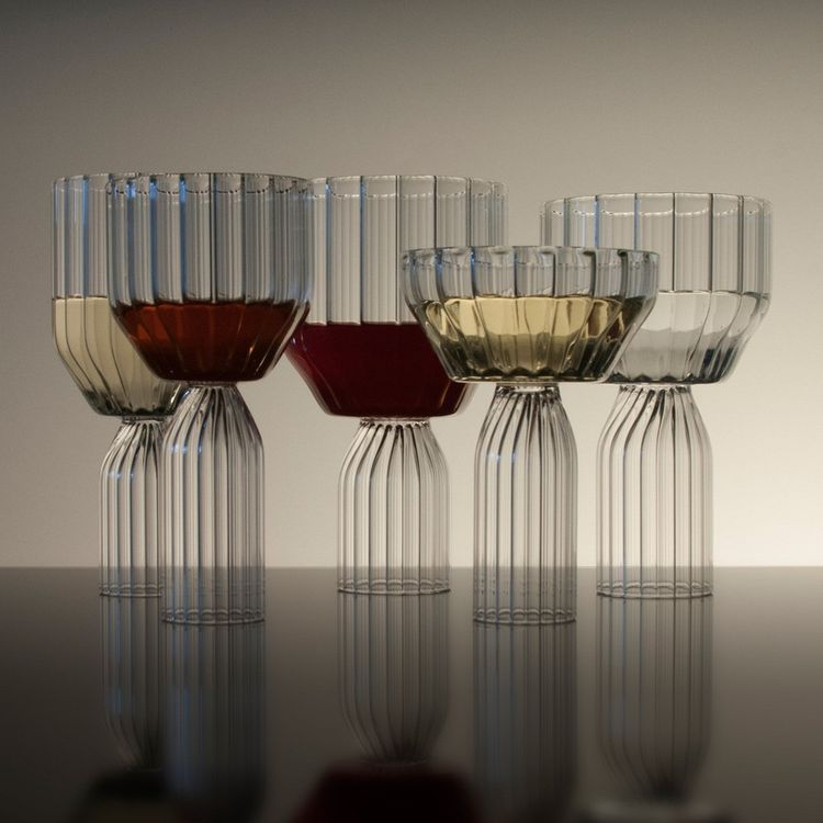 Sculptural collection of cut glassware