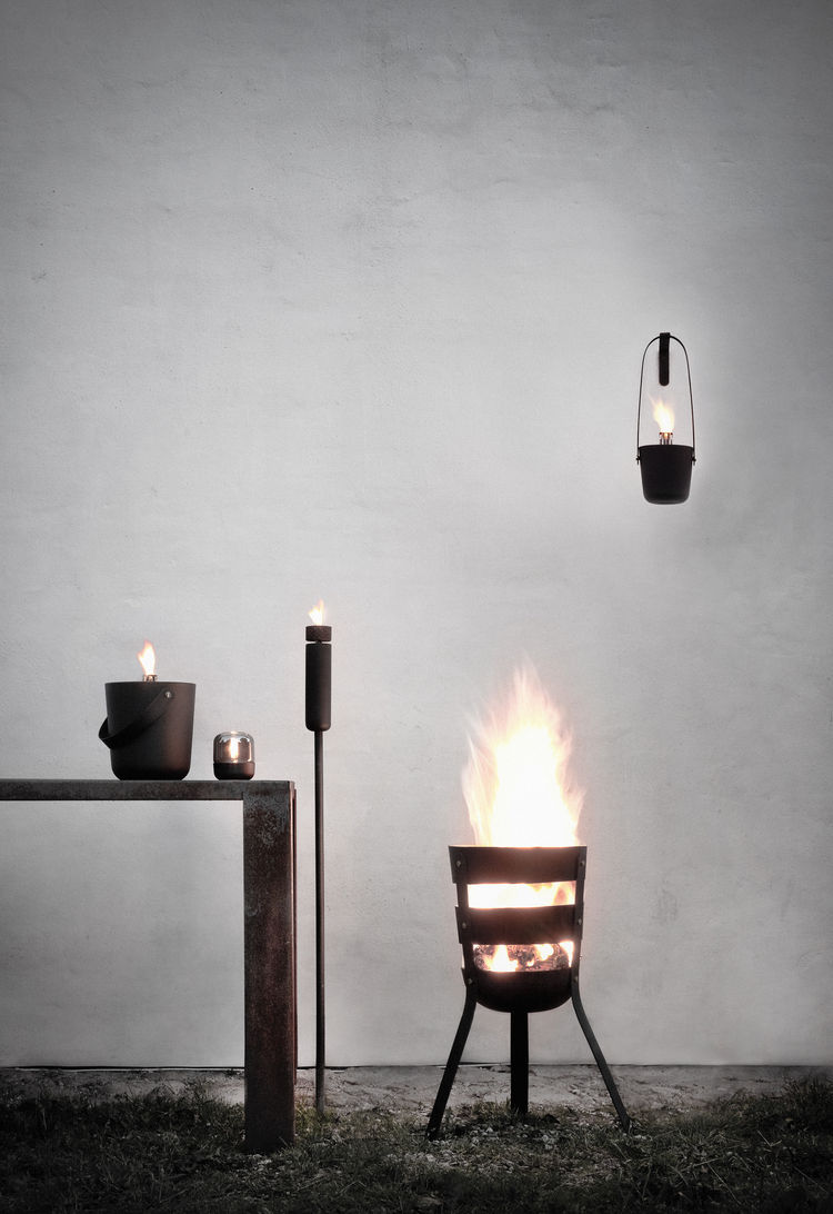 Oxidized steel fire basket and torch series