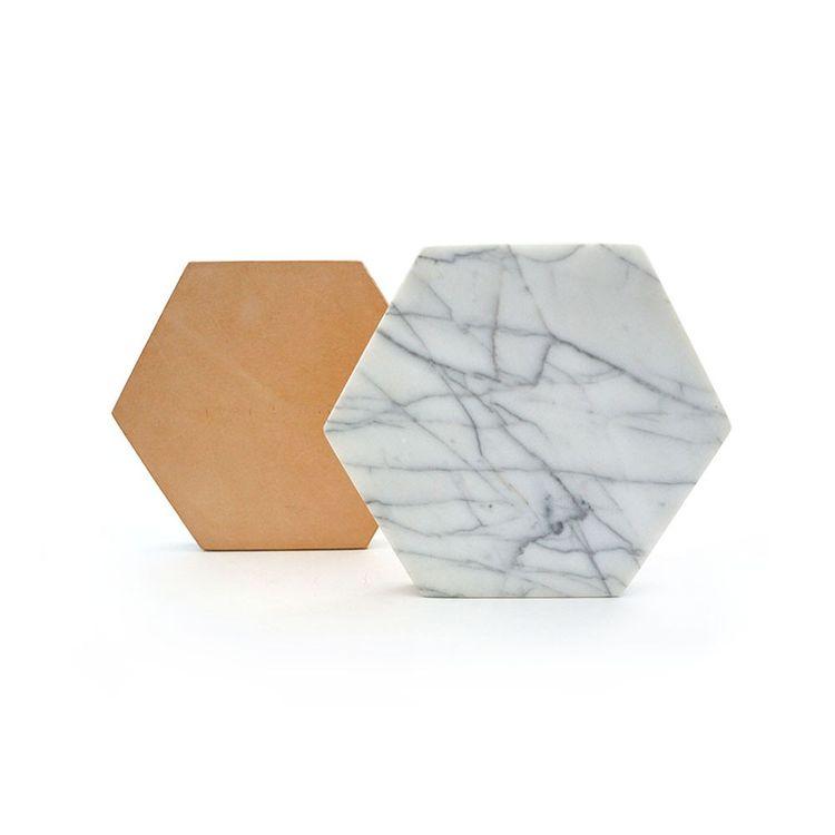Hexagon-shaped white marble trivet