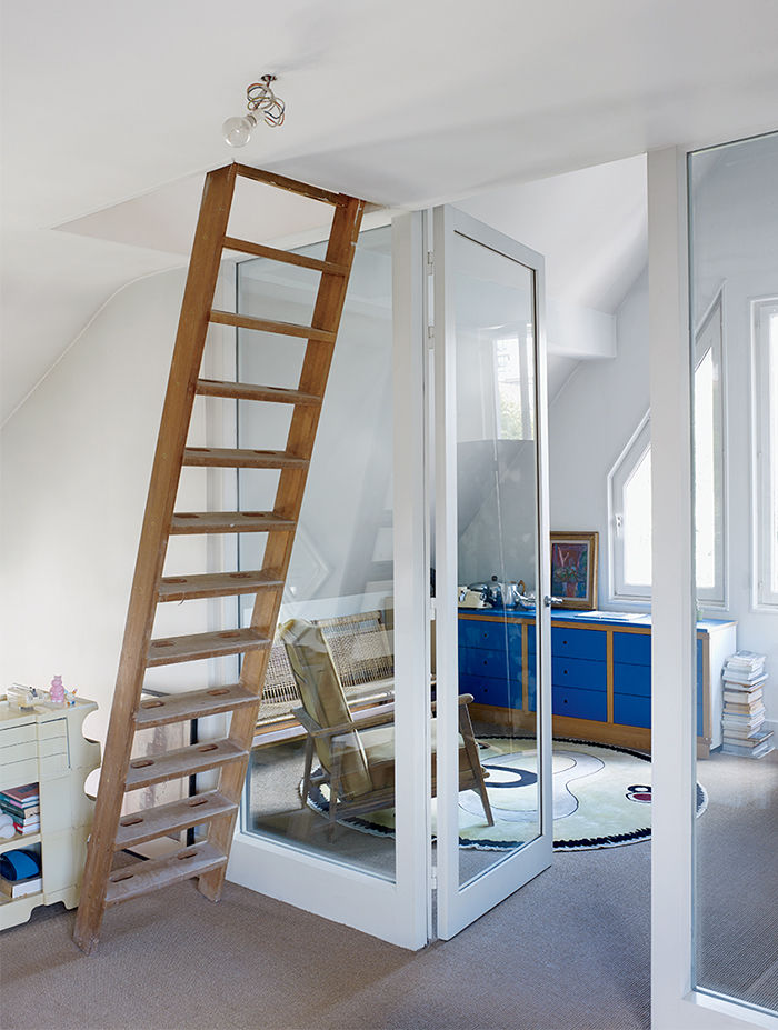 Ladder leading to a guest room in Nicolas Roche's Paris apartment