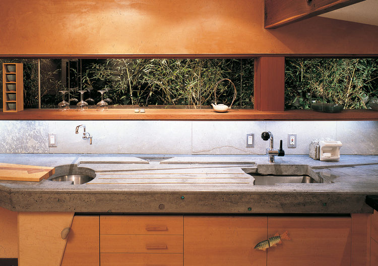 Fu-Tung Cheng's kitchen with a concrete countertop