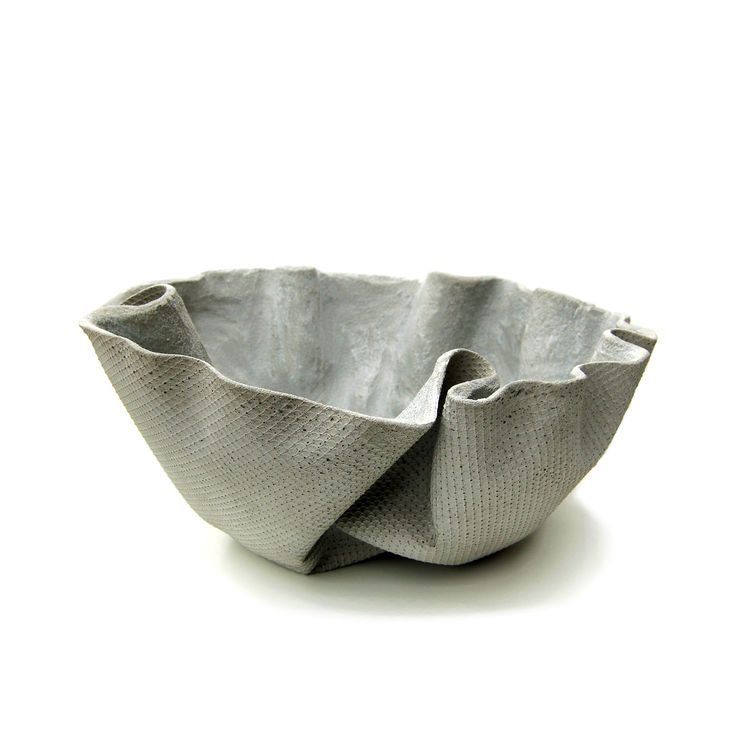 Fabric-shaped bowl made of ShapeCrete