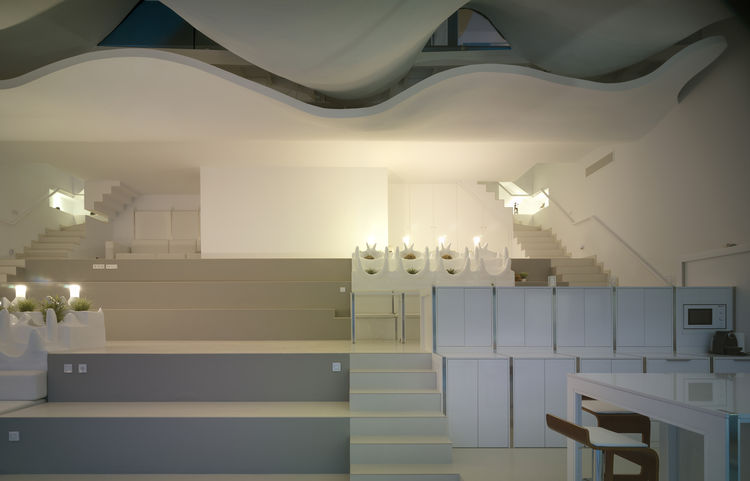 Custom fiberglass furniture in Spanish home.