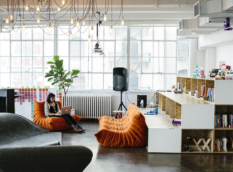 The Chelsea office of littleBits with Ligne Roset Togo sofas