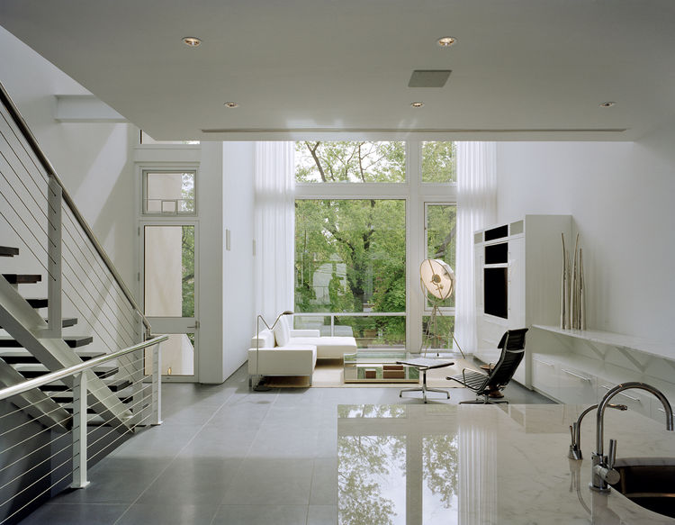 Living room of large, minimalist Chicago townhouse.