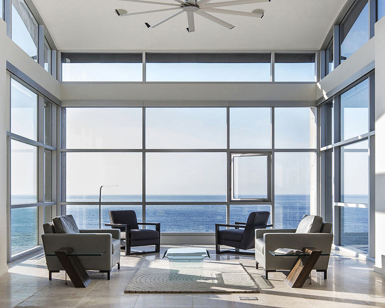 Living room in Nova Scotia that looks out to the Atlantic Ocean.