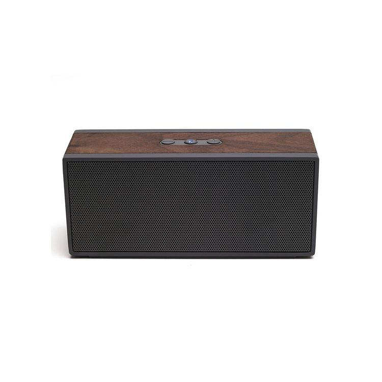 Portable speaker with pronounced wood grain