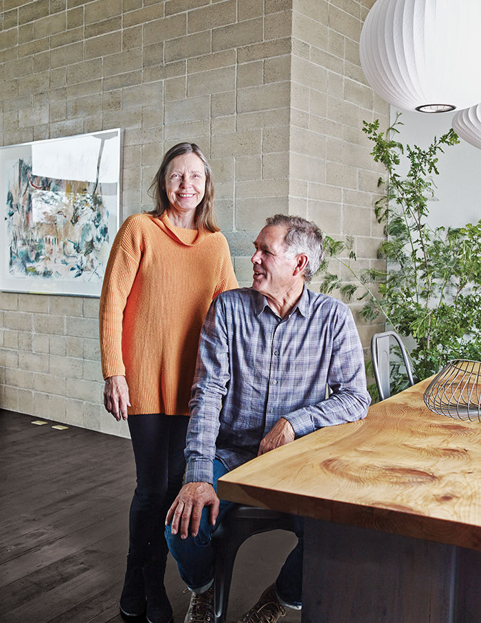 Rammed-earth homeowners Easton and Wright