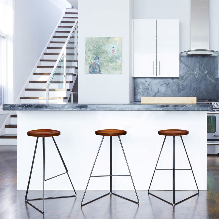 Geometric barstool with walnut wood seat
