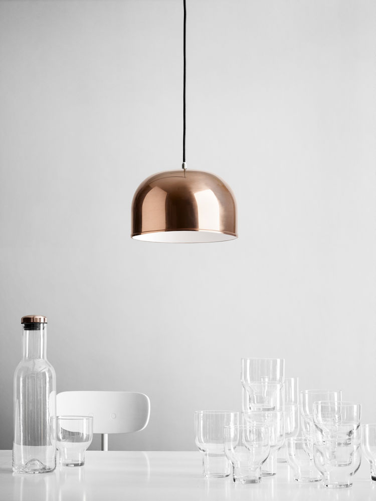 Copper pendant light with stackable glasses