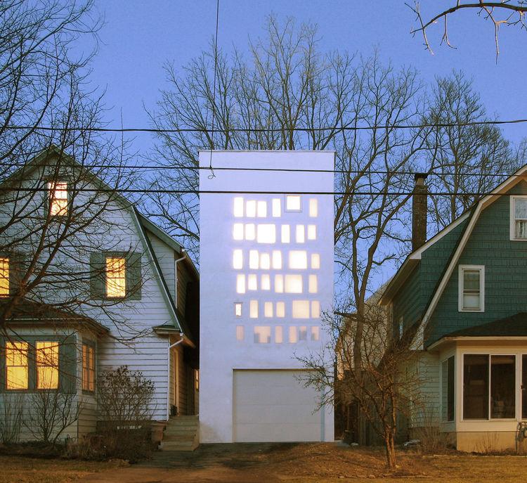 Haffenden house exterior facade nighttime.