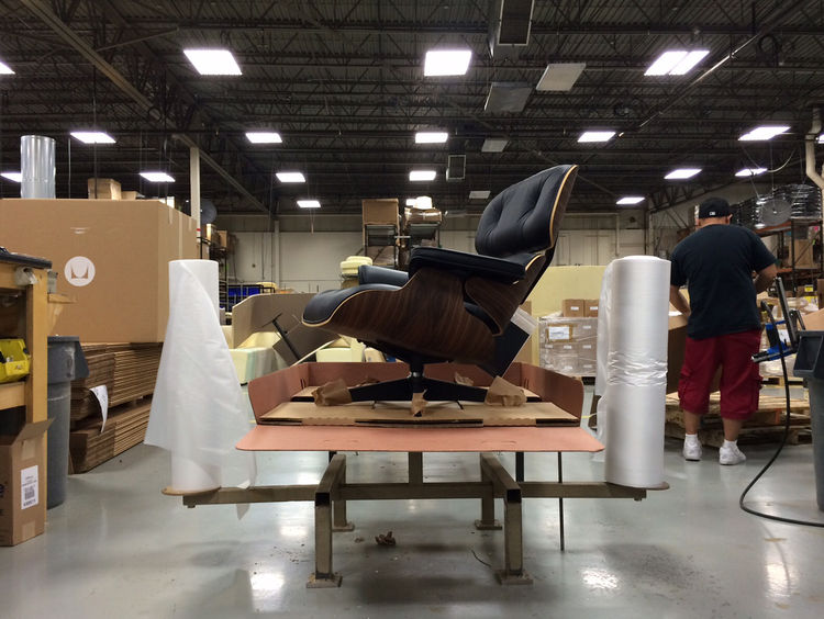 Eames lounge chair manufactured at the Herman Miller factory
