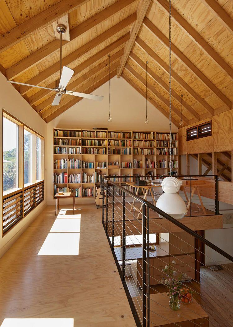 Modern library in Australian home.