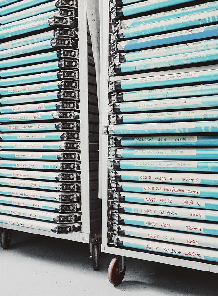 McIntosh Laboratory factory silk screens in speed racks