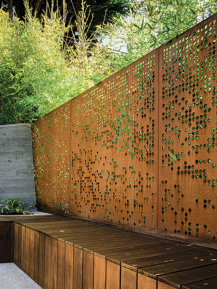 modern landscaping steel screen koi bamboo