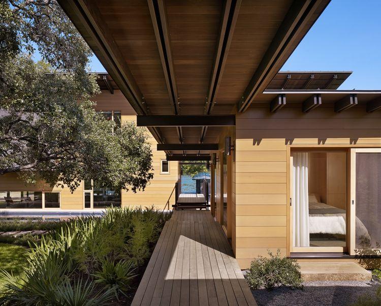 Cedar walkways at a Texas lake house