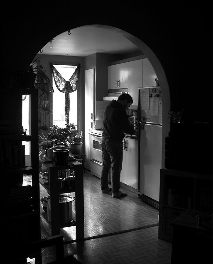 Renovation Montreal before dark kitchen.