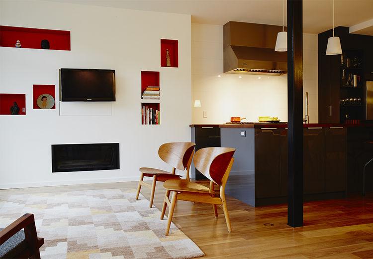 Renovation Montreal living room Hans Wegner Shell chairs