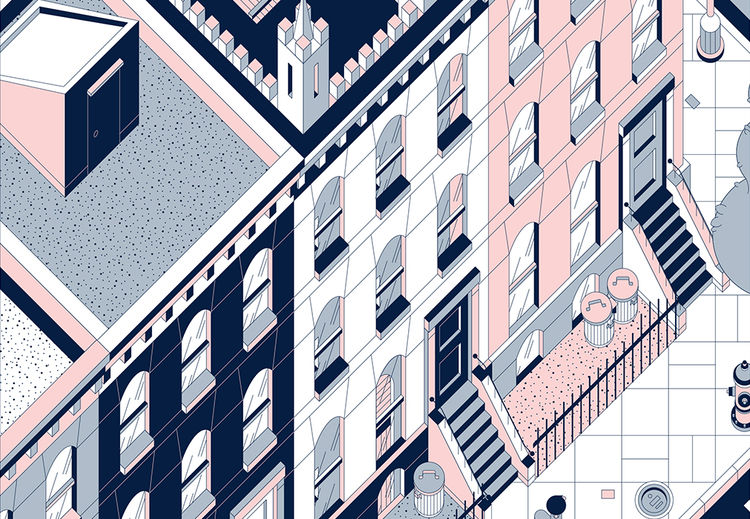 Illustration of a NYC block