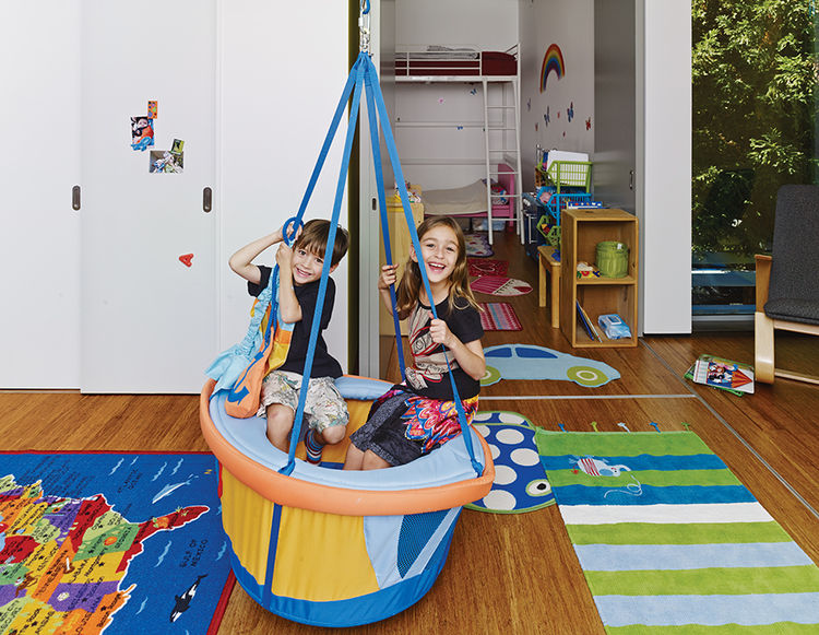 Palo Alto home bedroom with haba swing
