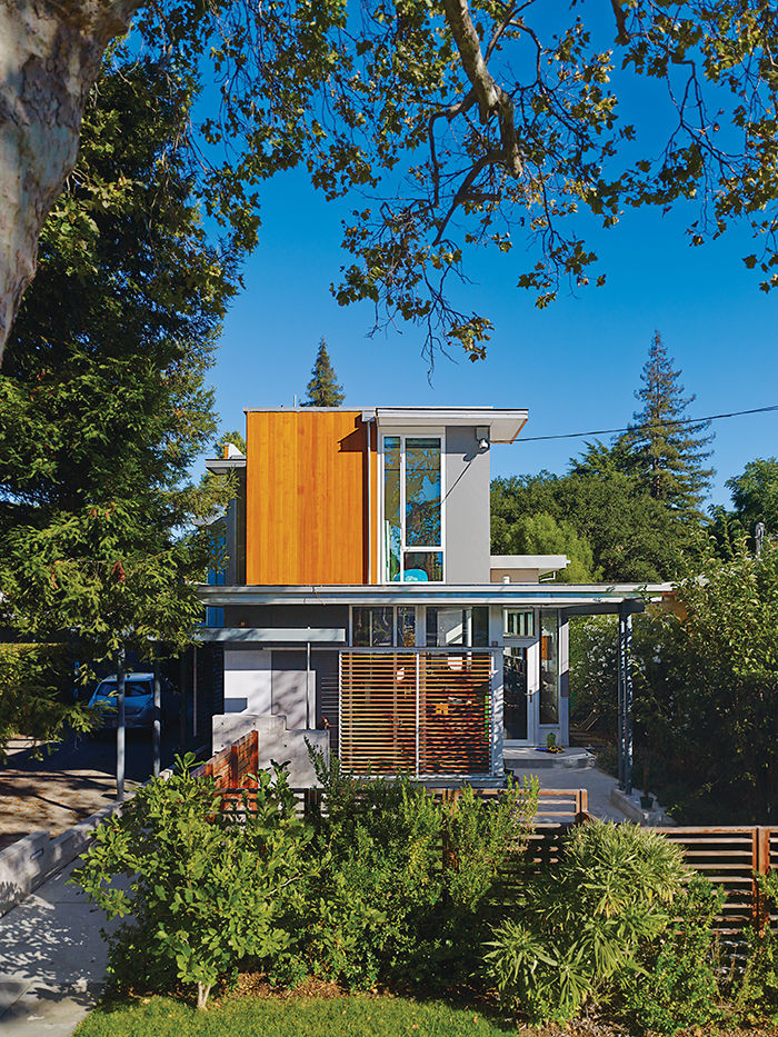 Palo Alto home facade with wood screens