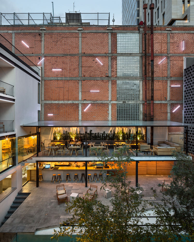 The courtyard of Hotel Carlota in Mexico City designed by JSa Arquitectura