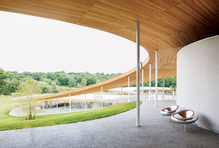 Modern community center in Connecticut by Sanaa, Grace Farms has douglas fir canopy