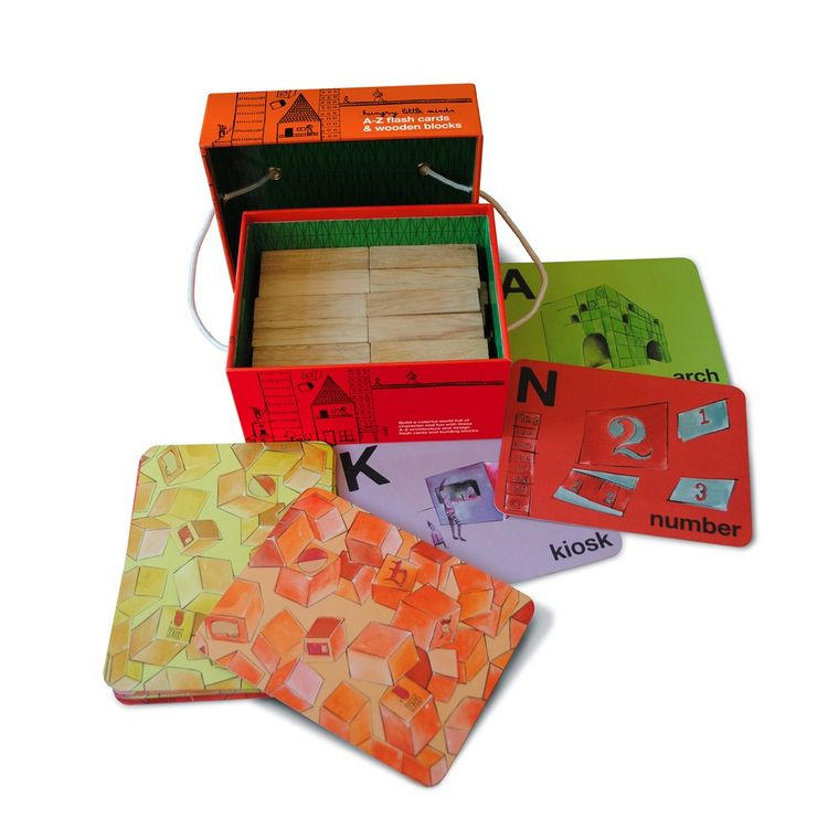 Flashcard and building block set for children