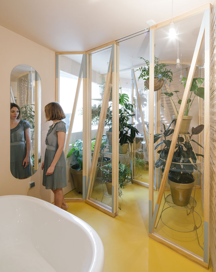 Bathyard renovation in Madrid, Spain, featuring an indoor greenhouse