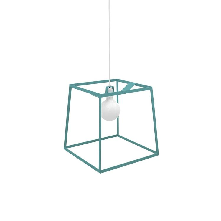 Teal powder-coated frame pendant light
