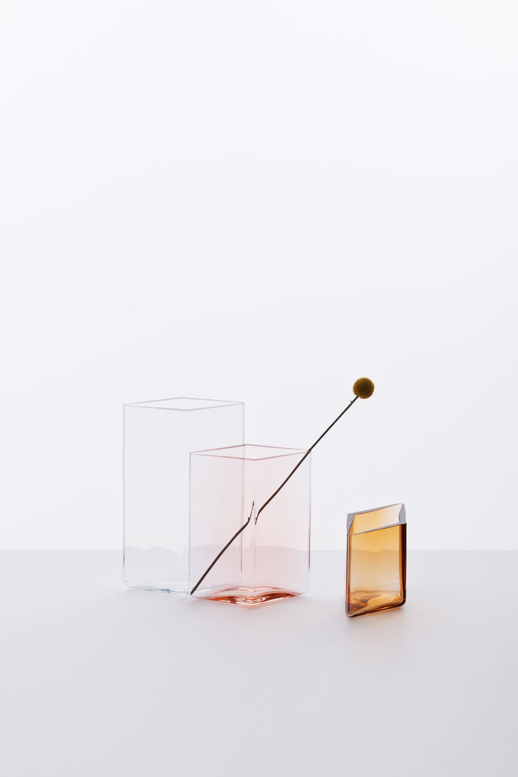 Diamond-shaped hand-blown glass vases