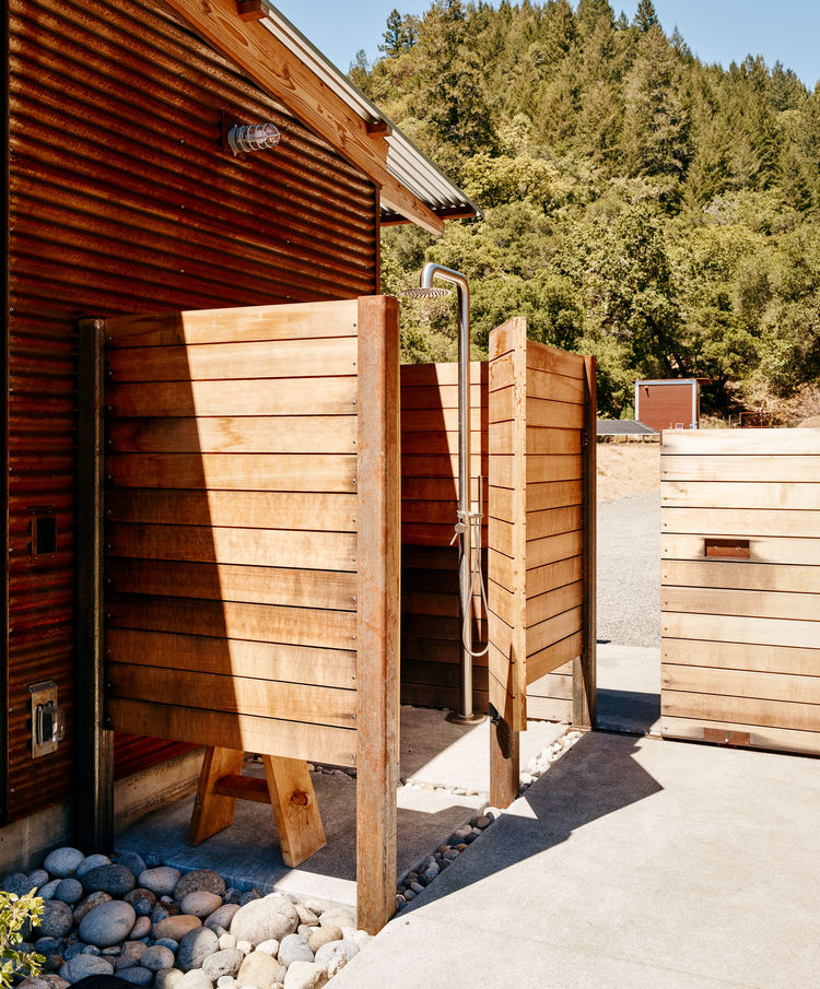 Bathing is done primarily in an outdoor shower at this home.