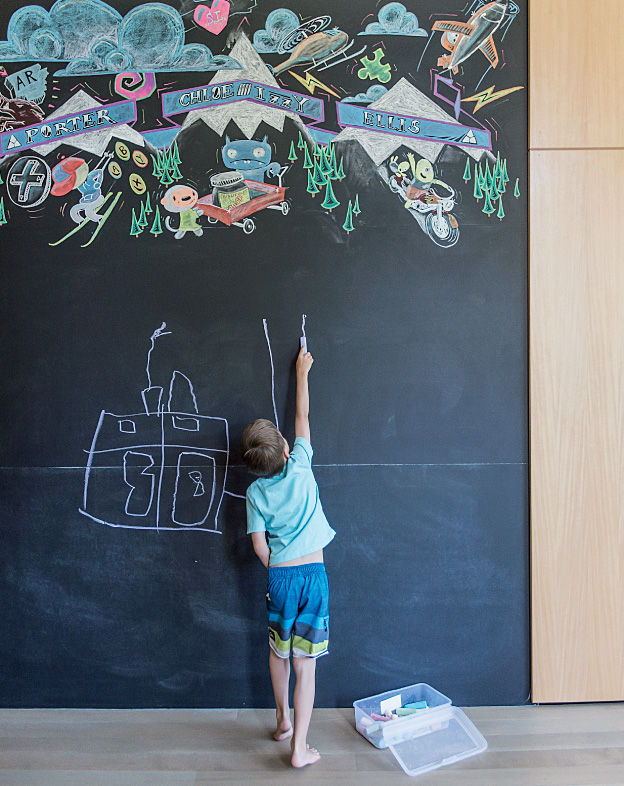 Bancroft residence library with wall-sized chalkboard