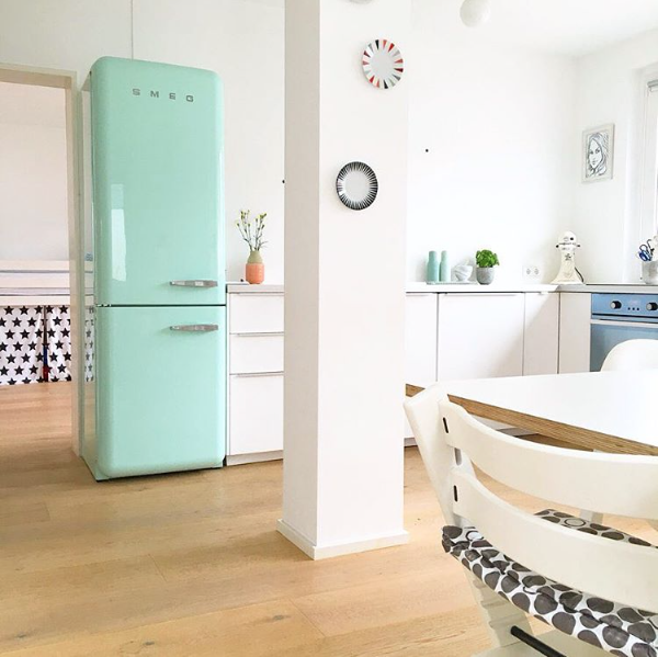Kitchen with a bright turquoise refrigerator