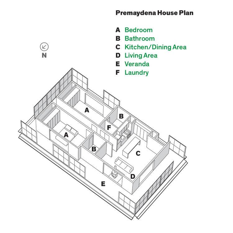 Plan of Tasmanian prefab by Misho+Associates.