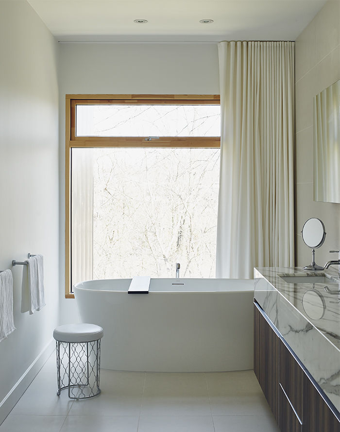 Master bathroom with a modern freestanding tub