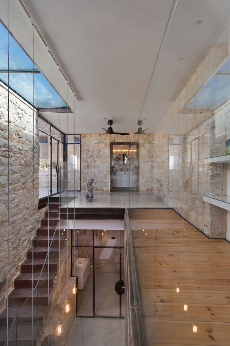 Upper interior courtyard in a renovated home in northern Israel