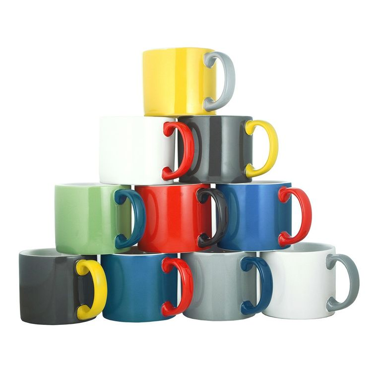 Colorful tower of ceramic mugs