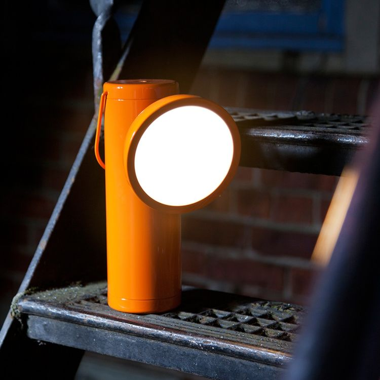 Wireless portable lamp in bright orange
