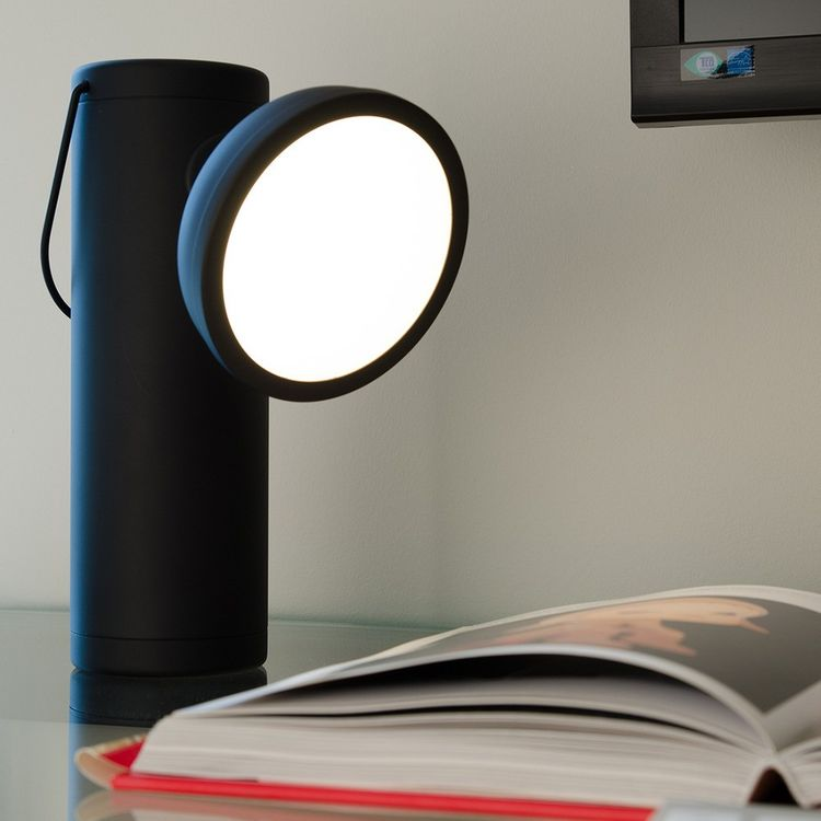Black portable lamp in matte finish