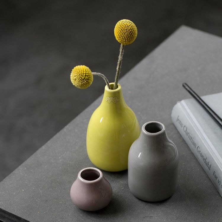 Colorful collection of three petite vases