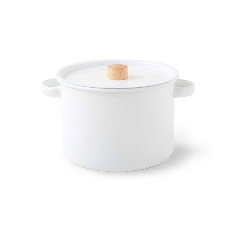 White enamel pasta pot set